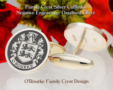 O'Rourke Family Crest Cufflinks in Sterling Silver or 9ct Gold