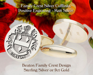 Beaton Family Crest Cufflinks Personalised Sterling Silver or 9ct Gold