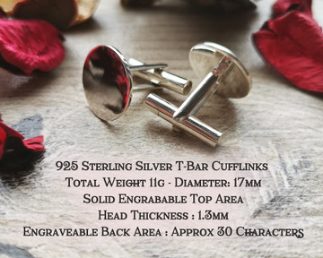 T-Bar Back Un-Hallmarked Sterling Silver Cufflinks