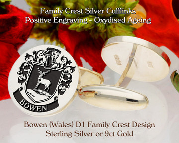 Bowen Family Crest D1 Sterling Silver or 9ct Gold