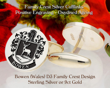 Bowen Family Crest D3 Sterling Silver or 9ct Gold