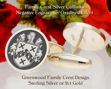 Greenwood Family Crest Silver or 9ct Gold Cufflinks