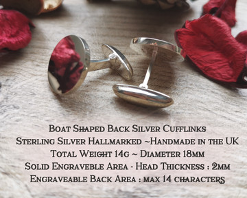 Boat Back Hallmarked Sterling Silver Cufflinks