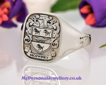 Family Crest McSwiney Silver Ring HS39 Negative