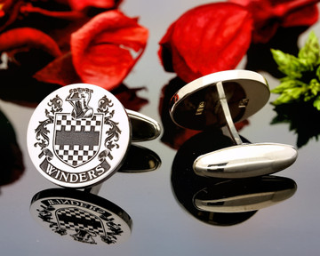 Winders Family Crest Laser Engraved Cufflinks