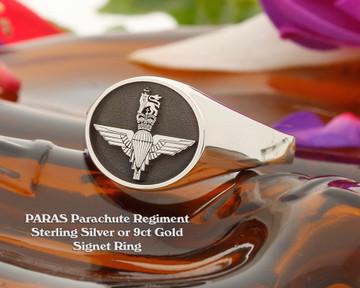 PARAS Parachute Regiment Silver or 9ct Gold Signet Ring