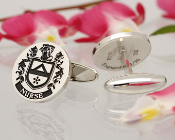 Nurse Family Crest Cufflinks Sterling Silver, laser engraved positive, oxidised
