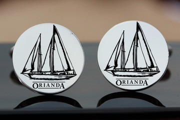 Design for ORIANDA 1937 Sailing Yacht, custom drawn by hand from an old photograph and laser engraved onto silver cufflinks.  Oxydised Ageing effect added to highlight the design.