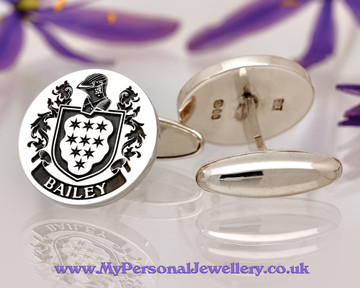 Bailey Family Crest Laser Engraved Cufflinks Positive Engraving Oxidised