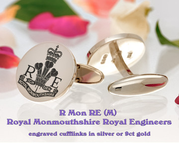 R Mon RE (M) Royal Monmouthshire Royal Engineers Cufflinks Silver or Gold Positive
