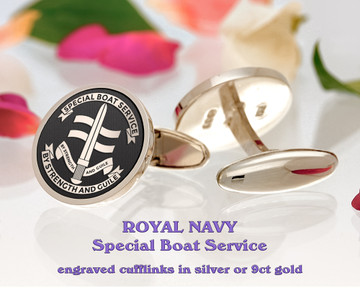 Royal Navy Special Boat Service Silver or 9ct Gold Cufflinks Negative