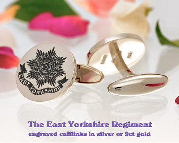 The East Yorkshire Regiment British Army Silver or 9ct Gold Cufflinks Positive