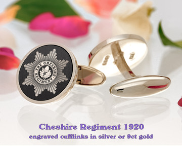 The Cheshire Regiment British Army Silver or 9ct Gold Cufflinks Negative