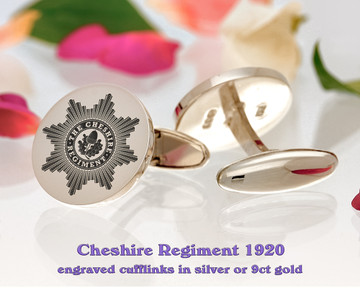 The Cheshire Regiment 1920 British Army Silver or 9ct Gold Cufflinks Positive