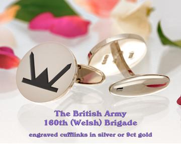 160th (Welsh) Brigade British Army Cufflinks Positive