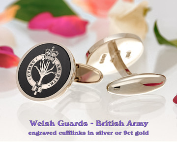 Welsh Guards British Army Silver or 9ct Gold Cufflinks Negative