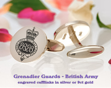 Grenadier Guards British Army Silver or 9ct Gold Cufflinks Positive