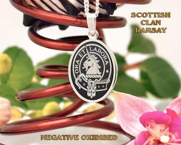 Ramsay Scottish Clan Pendant Negative Oxidised