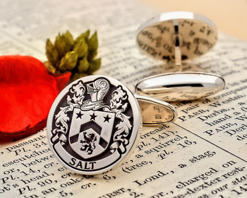 Salt - Family Crest Cufflinks in Silver or 9ct Gold