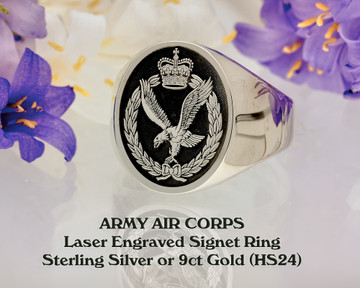Army Air Corps Engraved Signet Ring Silver or 9ct Gold from