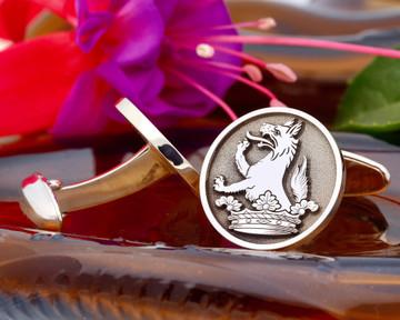 Howe Family Crest Silver Cufflinks