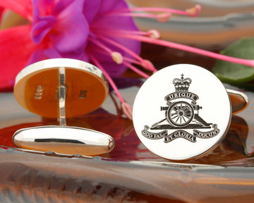 Royal Artillery British Army Silver or 9ct Gold Cufflinks Positive Engraving Oxidised