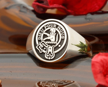 Fletcher Scottish Clan Signet Ring (example Oval Silver negative oxidised)