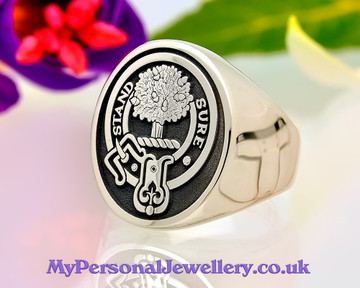 Anderson Scottish Clan Signet Ring (example silver oval negative oxidised)