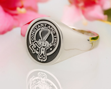 Rose Scottish Clan Signet Ring (example silver oval negative oxidised)