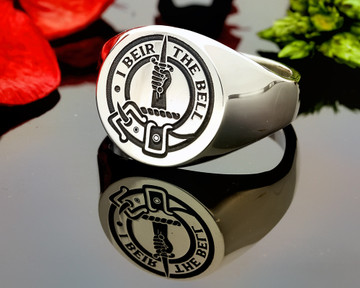 Bell Scottish Clan Signet Ring (example silver round positive oxidised)