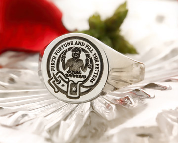 Murray Demi Savage Scottish Clan Signet Ring (example silver round positive oxidised)