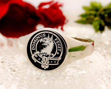 Baird Scottish Clan Signet Ring (example silver round negative oxidised)