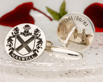 Maxwell Family Crest Cufflinks (example positive oxidised)