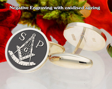 Masonic Square and Compass Cufflinks with initials
