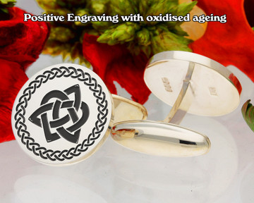 Celtic Trinity Triquetra Cufflinks oxidised positive