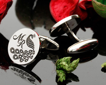Love Peacock Monogram Silver Cufflinks - example MR
