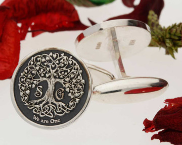 Love Heart Tree Silver Cufflinks - Negative Engraving