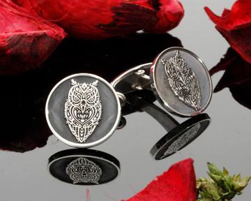 Owl engraved silver mens cufflinks laser engraved Negative Engraving