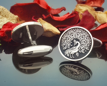 Peacock Engraved Silver Cufflinks also available in 9ct Gold