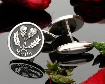 Entwined Scottish Thistle handmade silver cufflinks Bespoke Design Negative Engraving
