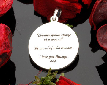 back engraving,  hallmark is placed on the side edge of pendant to allow room for engraving.