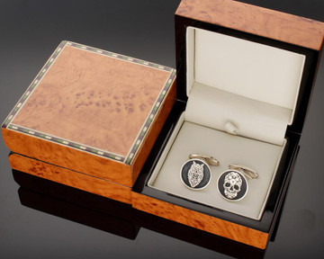 Cufflinks Walnut finish gift box