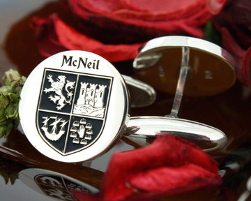 Cufflinks McNeill family crest design example engraving