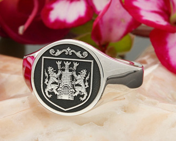 Kelly Family Crest Signet Ring HS44