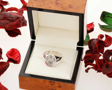 Family Crest Signet Ring Round 13x13mm HS42 Silver or 9ct Gold from