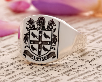 Adams Family Crest Signet Ring HS9 - Silver or 9ct Gold