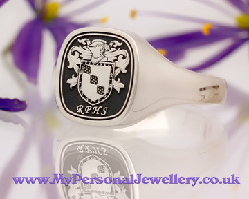 Signet Ring in Sterling Silver HS3 Sainsbury Family Crest Negative Oxidised