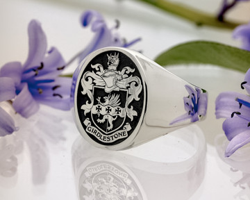 Family Crest Girdlestone Signet Ring HS5 Negative Engraving Oxidised Silver or 9ct Gold