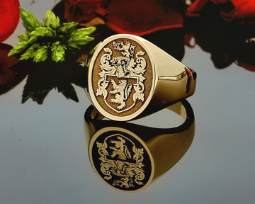 Price Family Crest Signet Ring HS24 9ct Gold Negative Engraving