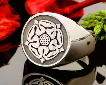 Tudor Rose Engraving on Sterling Silver HS44 Signet Ring